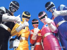 (Red) Andros, (Blue) Tj, (Yellow) Ashley, (Black) Carlos, (Pink) Cassie POWER RANGERS IN SPACE