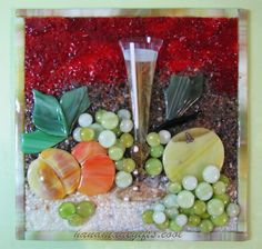 Grapes still-life fused glass picture