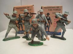 MARX WARRIORS OF THE WORLD PLAYSET WWI FRENCH GERMAN 60MM PLASTIC TOY SOLDIERS #MARX