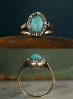 Gorgeous vintage turquoise, gold and diamond ring...perfection.