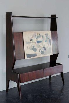 Silvio Cavatorta; Rosewood and Painted Wood Cabinet, 1960s.