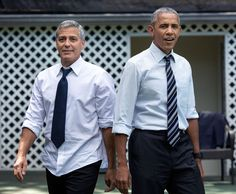 Barack Obama Helpfully Shows George Clooney How to Wear Clothes Joe Biden, First Black President, Mr President, Great Falls, Pearl Harbor, Michelle Obama, Bruce Springsteen, Durham, Obama Photographer