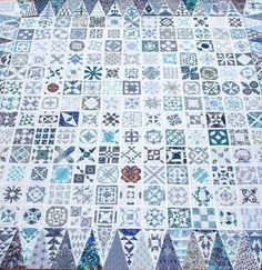 Liberty Blue Dear Jane quilt top by Julianne at 'Dear Jane is Making Me Nearly Insane'.  Begun in April 2011, completed in June 2013.