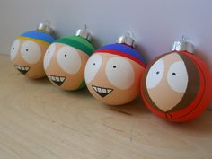 pretty freaking awesome..  South Park kids set of four painted ornaments gift set. $32.00, via Etsy.