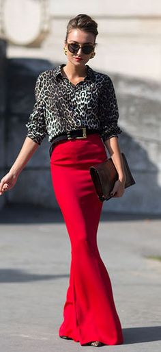 #datewear #streetstyle | a leopard print blouse paired with a red maxi skirt & style with an oversized pouch