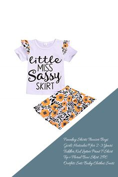 Fineday Shirts Trouser Boys Girls Hotsales!!! for 2-3 Years Toddler Kid Letter Print T-Shirt Top+Floral Bow Skirt 2PC Outfits Sets Baby Clothes Suits
