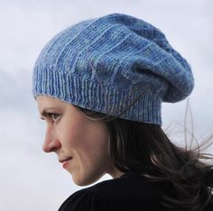 Free knitting pattern for slouchy hat Michele with slip stitch pattern in DK yarn and more free slouchy hat knitting patterns at http://intheloopknitting.com/slouchy-hat-knitting-patterns/