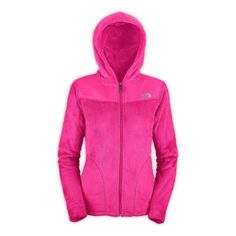 The North Face Womens Oso Pink Hooded Full Zip Up Fleece Lined Jacket Size L
