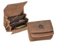 Greenburry VINTAGE - Leder Micro-Münzbörse kleine Geldbörse XXS Portemonnaie - antikbraun 1680-25