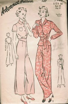 Advance 1960 - belted top and wide legged trousers from 1938