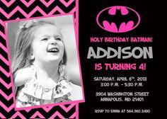 Batman Batgirl Pink Bat Man Bat Girl Birthday Party Invitation - Digital File