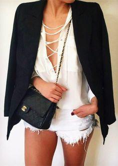 #equipment lace up top + black blazer