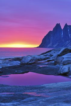 Solnedgang ved Okshornan, Senja,Norway