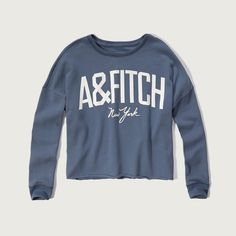 Abercrombie & Fitch Cutoff Logo Crew Sweatshirt ($48) ❤ liked on Polyvore featuring tops, hoodies, sweatshirts, blue, crewneck pullover, abercrombie fitch top, cut off sweatshirt, logo tops and blue sweatshirt