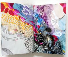 colourful and patterned pages in the sketchbook of artist Helen Wells
