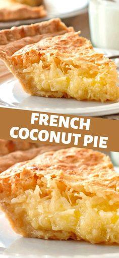 Coconut Desserts, Coconut Recipes, Just Desserts, Baking Recipes, Delicious Desserts, Cake Recipes, Yummy Food, My Recipes, Buttermilk Coconut Pie Recipe