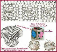 """EU TAMBÉM CROCHETO...: Cesto de Trapilho """"Quadrados em Flor""""--- http://helenacc.blogspot.com.br/2013/01/cesto-de-trapilho-quadrados-em-flor.html"""