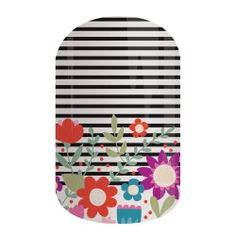 Daisy Way | Jamberry | Bright daisies in shades of purple and red give this classic black and white stripe a bold twist.
