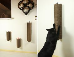 New From Moderncat Studio! Wall-Mounted Scratch Tower Lets Cats Scratch at Any Height