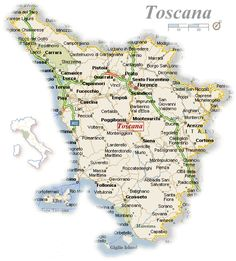 Large detailed travel map of Tuscany with cities and towns ...