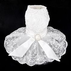 Elegant+Wedding+Dress+with+Lace+Bowknot+for+Pets+Dogs+(Assorted+Sizes)+-+USD+$+21.89