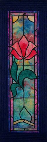 Tulip stained glass wall hanging by Gina Burgess:  workshop