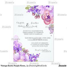 Vintage Rustic Purple Flowers Wedding Invitations