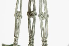 60 inches Gray Macrame Plant Hanger Super Long by DanceOfTheSoul