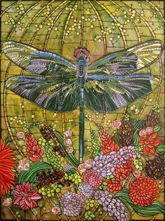 Dreaming of a Dragonfly ...Dragonfly Art Nouveau Stained Glass Art Illustration Painting  by VeroGodbout