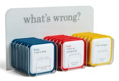 what's wrong? Designed by ChappsMalina, Little Fury & Help Remedies  This is one of the best examples of product concept and design. From the naming down to the witty copy and simple, clean design, it doesn't get much better than this