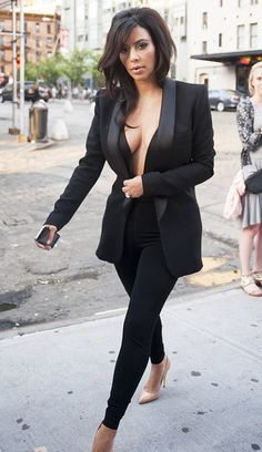 Kim Kardashian Wears Cleavage-Baring Suit to Dinner in NYC: Picture - Us Weekly
