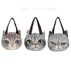 Cat Face Tote Bag ~ You'll be turning heads carrying these tote bags!  They come in 4 styles, pick out your favorite or pick them all!