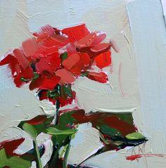 Red Geranium no. 3 Original Oil Painting Angela Moulton