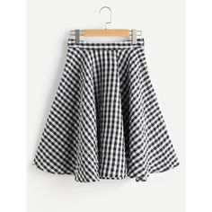 Zip Side Textured Gingham Circle Skirt ($20) ❤ liked on Polyvore featuring skirts, black and white, black and white circle skirt, zipper skirt, black and white flared skirt, black and white gingham skirt and black and white skater skirt