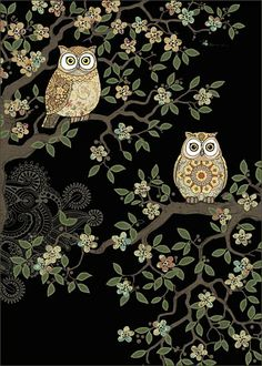 Two Owls - Bug Art greeting card