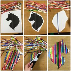 Groovy Magazine, Silhouette Animal Art Activity for Grades 4-10!  Simply guillotine bright pages out of magazines and stick the strips side by side on your favourite silhouette of an animal and WALA! Looks amazing in the windows of the classroom when you do both sides!
