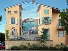 Patrick Commecy and A-Fresco in France: painting new urban landscape on existing buildings #place_making #culture