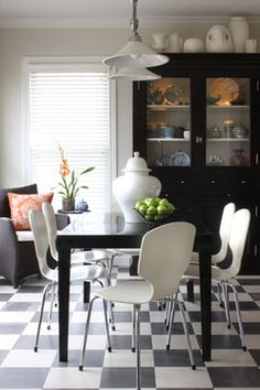 Living Room Dining Room Combo Flooring Design, Pictures, Remodel, Decor and Ideas - page 288 Top Of Cabinets, Above Cabinets, China Cabinets, Curio Cabinets, Dark Cabinets, Decorating Above Kitchen Cabinets, Kitchen Cabinetry, Kitchen Floors, Kitchen Chairs