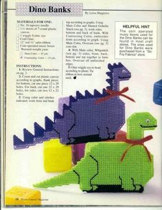 DINOSAUR BANKS 1/2 Toys For Boys, Kids Toys, Boy Toys, Plastic Canvas Crafts, Plastic Canvas Patterns, Canvas 5, Main Colors, Needlework, Dinosaur Stuffed Animal