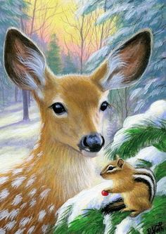 Fawn deer chipmunk wildlife winter snow forest original aceo painting art #Miniature