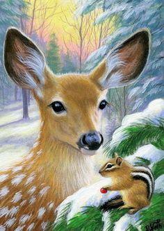 Fawn deer chipmunk wildlife winter snow forest original aceo painting art #Miniature