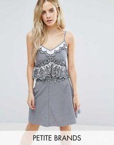 Miss Selfridge Petite Check Gingham Top & Skirt Co-Ord
