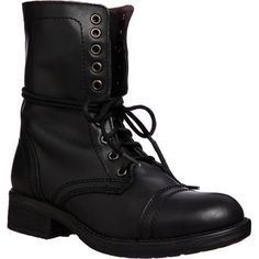 Tropa2 Steve Madden Women's Lace up Combat Boot (€100) ❤ liked on Polyvore featuring shoes, boots, ankle booties, ankle boots, black, black wedge bootie, lace up booties, black platform boots, lace up ankle boots and black booties