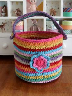 Colourful crocheted basket - link to photo tutorial