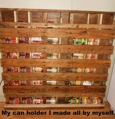 Pallet can rack. Perfect for storing canned goods.