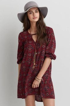 AEO Keyhole Swing Dress by AEO | Go for some major pattern play with this swing dress. Finished with a keyhole back detail for effortless style.  Shop the AEO Keyhole Swing Dress and check out more at AE.com.