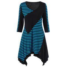 $16.01 Stripe Block Flounce Long Asymmetric T-Shirt - Lake Blue