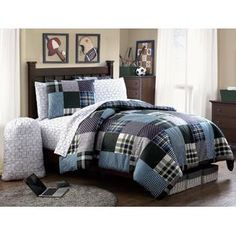 #VictoriaClassics Mason Bed in a Bag in Blue/Green  #Bedding #Comforter #VCNYHome
