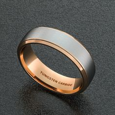 Mens Wedding Band 8mm Tungsten Ring Two Tone Brushed by Sydneykimi