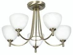 The antique brass Hamburg 5 light flush ceiling light has a simple 5 arm frame with white alabaster glass shades. Ideal for low ceilings. Full range available from Luxury Lighting online or lighting showroom in Kent.